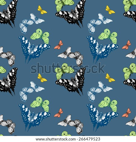 Colorful spring butterflies seamless pattern on blue background vector illustration
