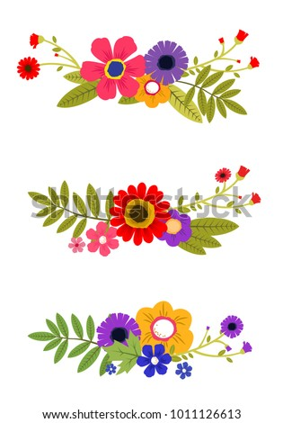 Colorful spring flowers with leaf. Vector set. Isolated.