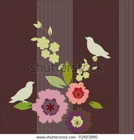 Colorful spring vector background - birds and flowers