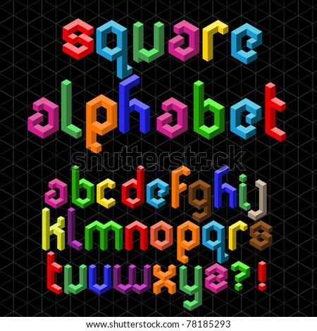 Colorful Square Alphabet - stock vector