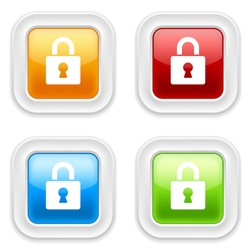 Colorful square buttons with padlock icon on white background