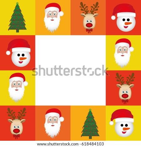 colorful square christmas frame decorative vector illustration