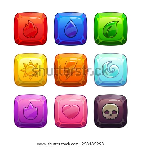 colorful square gem stones with