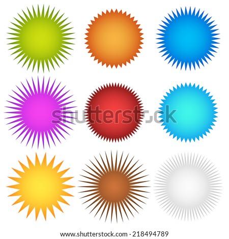 Colorful starburst, flash, badge set. vector illustration #2