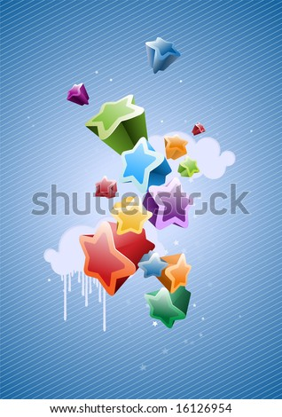 Colorful Stars Background - great for greeting and birthday postcards, flyers and many more celebration items