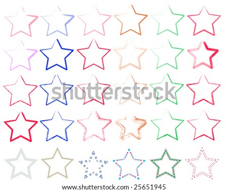 colorful stars in different brush styles. useful for many design- and layout-jobs