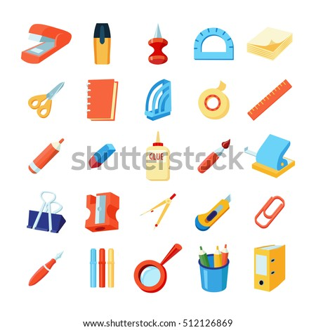 Colorful stationery icons set of various office supplies in flat style isolated vector illustration