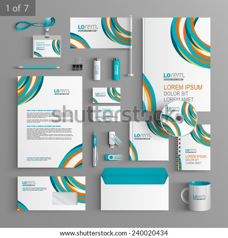Colorful stationery template design with art round lines. Documentation for business.