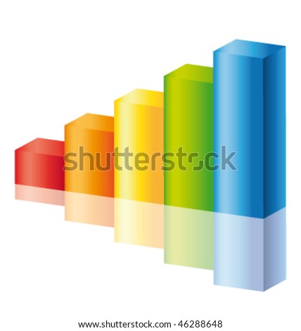 Colorful stick diagram icon with reflection. Vector icon.