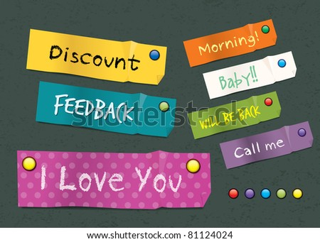 Colorful Sticker Note. vector - stock vector