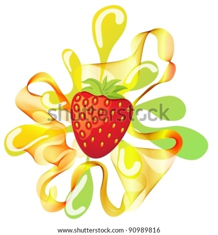 Colorful strawberry background over white