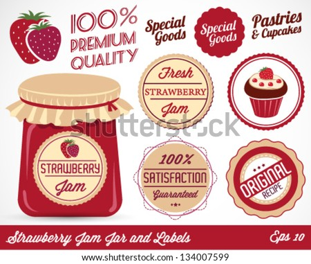 Colorful Strawberry Jam Jar and Badges Vector Illustration