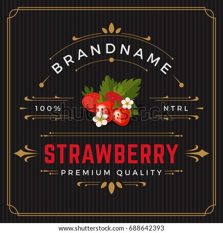 Colorful Strawberry Packaging Logo Design Element in Vintage Style. Strawberry Retro Label Vector Illustration.