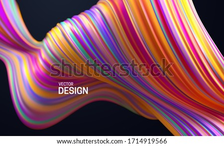 Colorful striped wave. Liquid flowing shape. Vector 3d illustration. Abstract colorful background. Vibrant gradient stream. Fluid paint wallpaper. Modern cover design