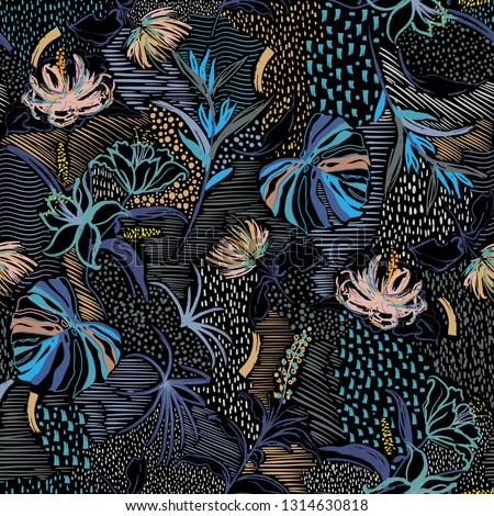 Colorful Stylish Seamless pattern vector hand drawn flower ,tropical palm forest, and blooming florals in line sketch mood design for fashion fabric and all prints