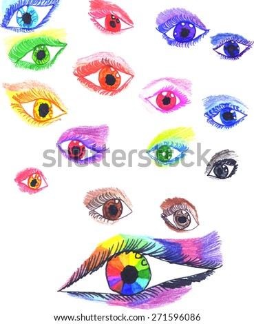 colorful stylized eyes hand
