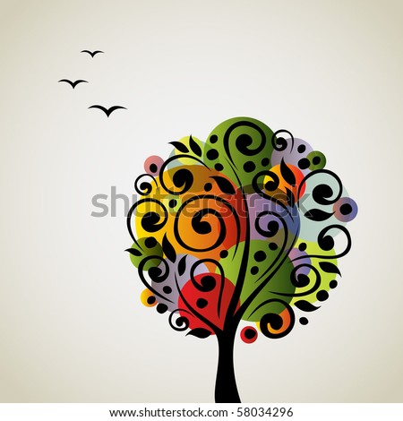 Colorful stylized vector tree