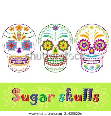 colorful sugar skull collection