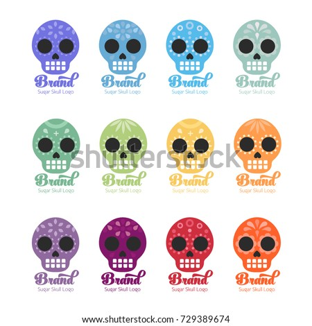 Colorful sugar skull logos for your brand design. Dynamic brand design, multiple different sub-brand designs adaptable for your brand.