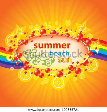 Colorful summer background with bubbles and rainbow