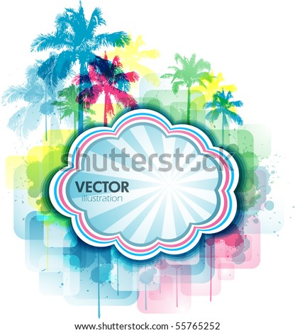 Colorful summer background with palm tree and paint splats - stock vector
