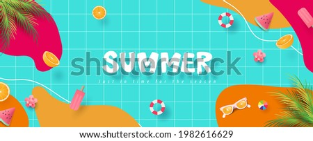 Colorful Summer banner background with pool party Сток-фото ©