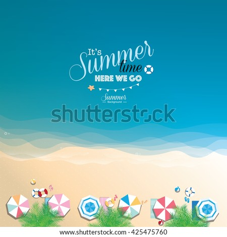 colorful summer beach vector
