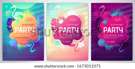 Colorful summer disco party poster with fluorescent tropic leaves and flamingo. Summertime background