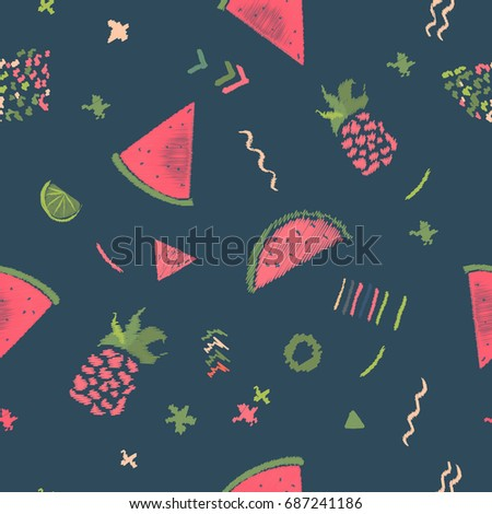 Colorful summer fruits seamless pattern with tropical leaves and geometry shapes in memphis style on dark background