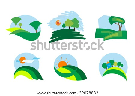 Colorful summer landscape isolated nature icons - for emblems or logo template