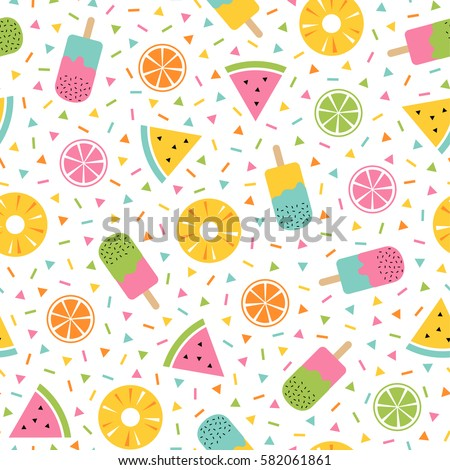 Colorful summer seamless pattern with tropical fruits and ice cream memphis style