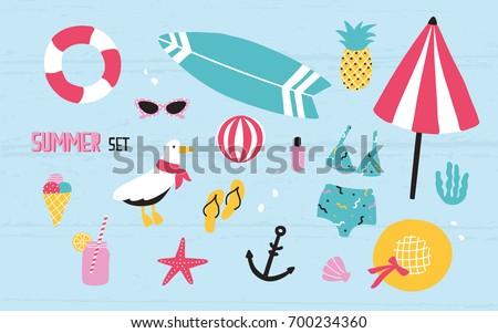 Colorful summer set with hand drawn elements: pineapple, ice cream, seagull, surfboard, ball, swimwear, hat, beach umbrella, sunglasses, lifebuoy, starfish, drink, flip flops, anchor.