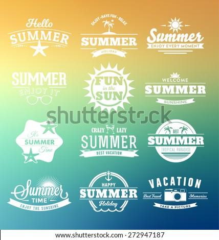 Colorful Summer Typography Design Collection - A set of twelve vintage style Summer Designs on Tropical Beach Background