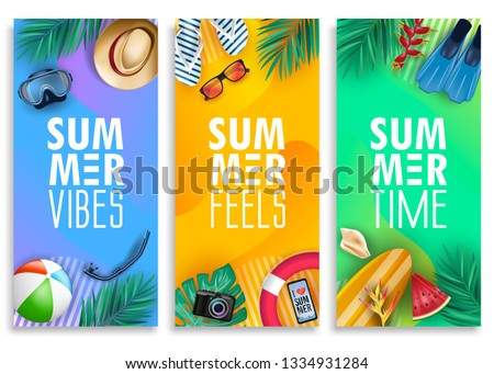 Colorful Summer Vertical Banner Set with Bright Vivid Gradient Background and Tropical Elements Like Palm Leaves, Surfboard, Scuba Diving Equipment, Beach Ball, Slippers and Sunglasses. Vector