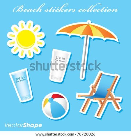 Colorful sunny beach stickers collection vector illustration
