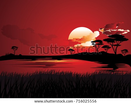 colorful sunset scene  african