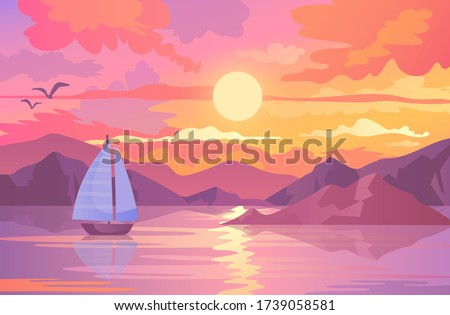 colorful sunset scene with