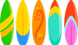 Colorful surfboards collection. Vector illustration.