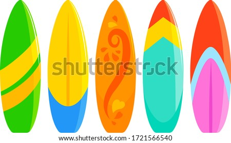 Colorful surfboards collection. Vector illustration. Сток-фото ©