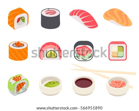 Colorful sushi set of different types chopsticks and bowls with wasabi soy ginger isolated vector illustration