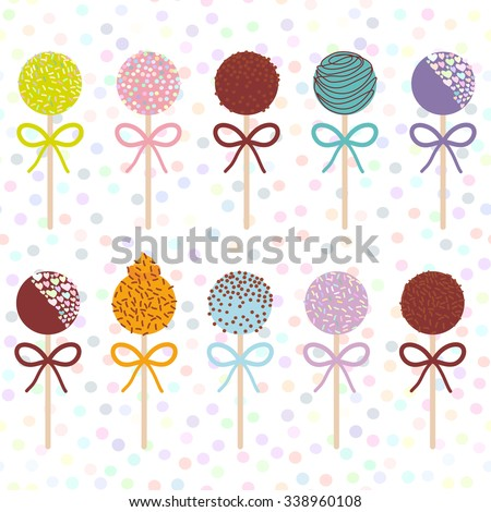 colorful sweet cake pops set