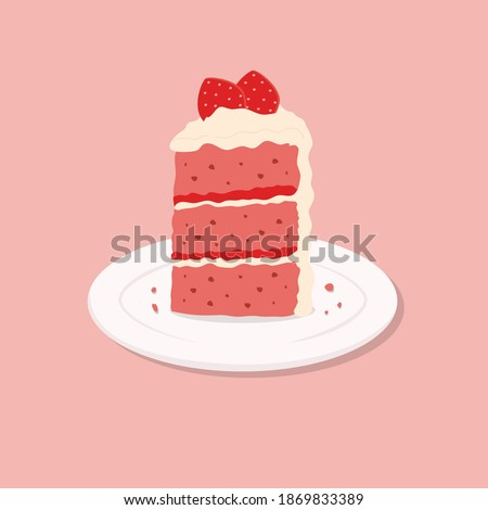 Colorful sweet cake slice. A piece of cake for happy birthday, weddings, celebrations, greeting, valentine's day invitation cards. Cute strawberry cake on plate. Vector illustration in  flat style.