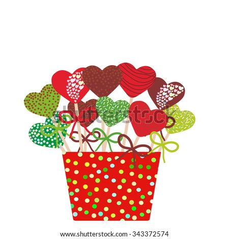 colorful sweet heart cake pops