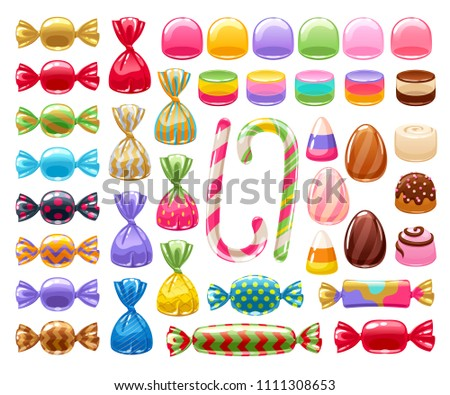 Colorful sweets set - hard candy, chocolate eggs, candy canes, jellies. Vector illustration. Assorted wrapped candies.