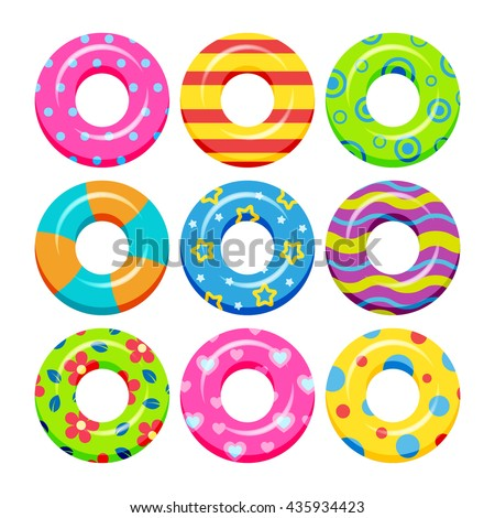 colorful swim rings icon set