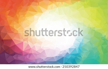 Colorful swirl rainbow polygon background or vector frame