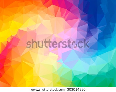 Colorful swirl rainbow polygon background or vector frame. Abstract Triangle Geometrical Background, Vector Illustration EPS10. Geometric design for business presentations. yellow, red, green, blue.