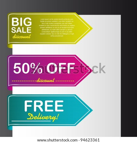 colorful tags vector over paper over black background. vector