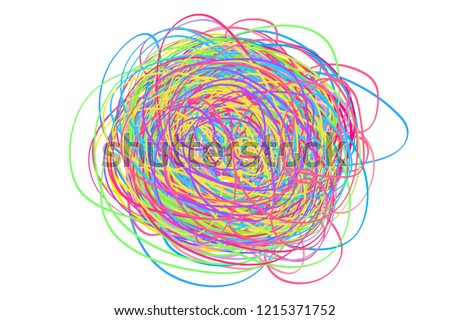 Colorful tangled on white. Chaos pattern. Scribble sketch. Bright background with array of lines. Intricate chaotic texture. Art creation. Print for polygraphy, posters and t-shirts