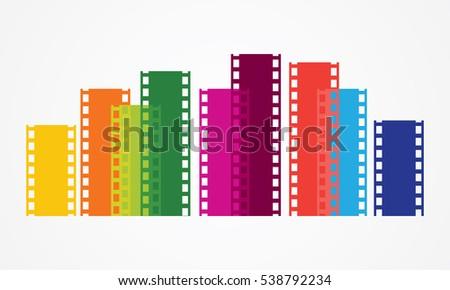 colorful tape film  film strip